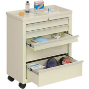 Lakeside® BV05 Classic 5-Drawer Medical Bedside Cart, Key Lock, Beige