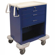Lakeside® C-324-P2K-1B Classic 3 Drawer Medical Emergency Cart, Key Lock, Blue
