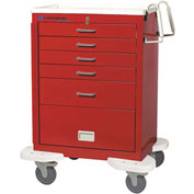 Lakeside® C-530-P2K-1R Classic 5-Drawer Medical Emergency Cart, Red, Key Lock