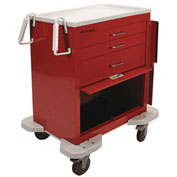 Lakeside® C-324-P2B-1R Classic 3-Drawer Medical Emergency Cart, Red, Breakaway Lock