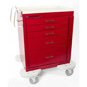 Lakeside® C-524-B-1R Classic 5 Drawer Medical Emergency Cart, Red, Breakaway Lock