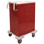 Lakeside® C-530-K-1R Classic 5 Drawer Medical Emergency Cart, Red, Key Lock