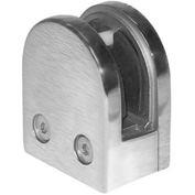 """Lavi Industries, Glass Clip, for 1/2"""" Glass, Flat, Satin Stainless Steel"""