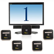 """Qtrac® Plug and Play, 22"""" LCD Cool Blue Display, 5 Remotes"""