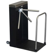 Tensabarrier 3-Arm Turnstile, Right Hand Counter Register, With Tread Floor Mat
