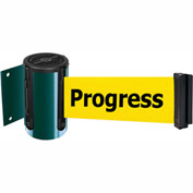 Tensabarrier Green Mini Wall Mount 13'L BLK/YLW Cleaning in Progress Retractable Belt Barrier
