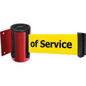 Tensabarrier Red Mini Wall Mount 7.5'L BLK/YLW Out of Service Retractable Belt Barrier