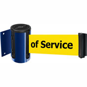 Tensabarrier Blue Mini Wall Mount 7.5'L BLK/YLW Out of Service Retractable Belt Barrier