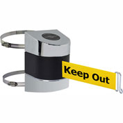 Tensabarrier Pol Chrome Clamp Wall Mount 24'L BLK/YLW Danger-Keep Out Retractable Belt Barrier