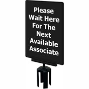 "Tensabarrier 7""x11"" 1/4"" Classic Acrylic Sign - ""Please Wait Here For The Next Available Associate"""