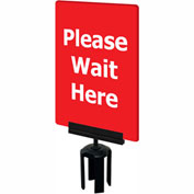"Tensabarrier Red 7""x11"" 1/4"" Classic Acrylic Sign - Please Wait Here"