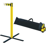 "Tensabarrier Tensacone 4-Pack 38""H Yellow Post 7.5'L Black/Yellow Chevron Belt with Storage Bag"
