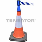 Tensabarrier Blue TensaCone Topper 7.5'L Blue/White Chevron Retractable Belt Barrier