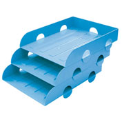 "Shuter Stacking Letter Tray 1010113 - 10-1/4""L x 13-1/4""W x 3""H, Price for Pack of 3, Blue"