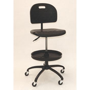 ShopSol Industrial Shop Chair with Adjustable Parts Tray - Polyurethane - Black