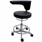 ShopSol Vinyl Lab Stool with Moveable Arm - Black