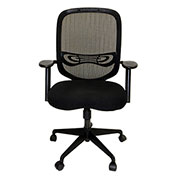 ShopSol Office Room Chair - Fabric Seat with Adjustable Mesh Back - Black