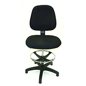 ShopSol Deluxe Drafting Stool - Fabric Upholstered - Mid Back - Black