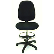 ShopSol Deluxe Drafting Stool - Fabric Upholstered - High Back - Black
