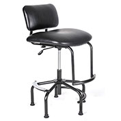 ShopSol Big and Tall Industrial Chair - Vinyl Upholstered - Black