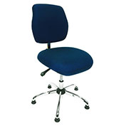 ShopSol ESD Office Chair - Low Height - Deluxe Fabric - Blue