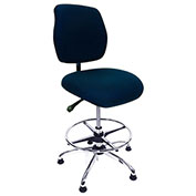 ShopSol ESD Office Chair - High Height - Deluxe Fabric - Blue