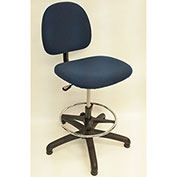 ShopSol ESD Office Chair - High Height - Value Line Fabric - Blue