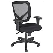 ShopSol Office Room Chair - Fabric Seat with Adjustable Mesh Backrest - Black