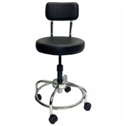 ShopSol Round Vinyl Lab Stool with Backrest - Black