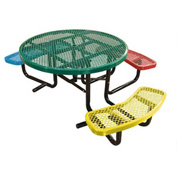 "46"" Round Child's Picnic Table, Expanded Metal, Portable Mount, 3 Seats"