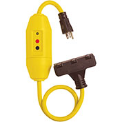 Lind Equipment 26020TC-2503 T-Head Tri-Cord With Inline GFCI, 120V/15A, 2' 12/3 Cord, W/Ind. Light