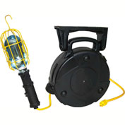 Lind Equipment 8050-103 50' 14/3 SJTW Cable Reel, LE103 Heavy-Duty Incand. Work Light, 13A Outlet