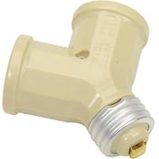 Leviton 128-00I Twin Incandescent Lampholder Socket Adapter, Ivory