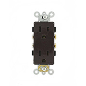 Leviton 16242 15A, 125V, Decora Plus Duplex Receptacle, Commercial Grade, Brown