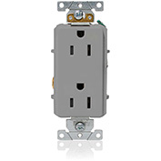 Leviton 16252-GY Decora Plus Duplex Receptacle, Straight Blade, Commercial Grade, Gray