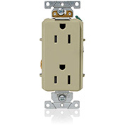 Leviton 16252-I Decora Plus Duplex Receptacle, Straight Blade, Commercial Grade, Ivory