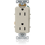 Leviton 16252-T Decora Plus Duplex Receptacle, Straight Blade, Commercial Grade, Light Almond