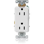 Leviton 16252-W Decora Plus Duplex Receptacle, Straight Blade, Commercial Grade, White