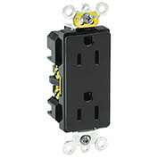 Leviton 16262-E 15a, 125v, Decora Plus Duplex Receptacle, Industrial Grade, Black - Min Qty 17