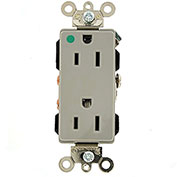 Leviton 16262-Hgg 15a, 125v, Decora Plus Duplex Receptacle, Hospital Grade , Gray - Min Qty 14