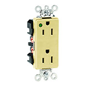 Leviton 16262-Pli 15a, 125v, Decora Plus Duplex Receptacle, Power Indication, Ivory - Min Qty 9
