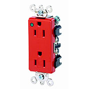 Leviton 16262-Plr 15a, 125v, Decora Plus Duplex Receptacle, Power Indication, Red - Min Qty 9