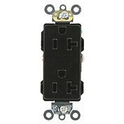Leviton 16362-E 20a, 125v, Decora Plus Duplex Receptacle, Self Grounding, Black - Min Qty 13