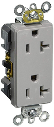 Leviton 16362-Gy 20a, 125v, Decora Plus Duplex Receptacle, Gray - Min Qty 13