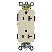Leviton 16362-T 20a-125v, Nema 5-20r, Industrial Decora Plus Dplx Recpt., Light Almond-Min Qty 13