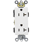 Leviton 16362-W 20a, 125v, Decora Plus Duplex Receptacle, Straight Blade, White - Min Qty 13