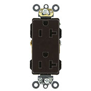 Leviton 16362 20a, 125v, Decora Plus Duplex Receptacle, Self Grounding, Brown - Min Qty 13