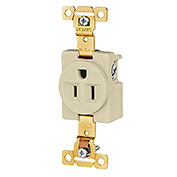Leviton 5251-I 15A, 125V, Single Receptacle, Ivory