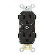 Leviton 5252-E Narrow Body Duplex Receptacle, Straight Blade, Black