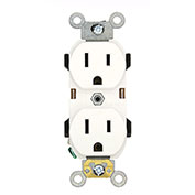Leviton 5252-W Narrow Body Duplex Receptacle, Straight Blade, White